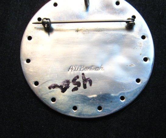 Image 3 of Vintage Zuni Albert and Dolly Banteah Thunderbird Inlay Silver Pendant