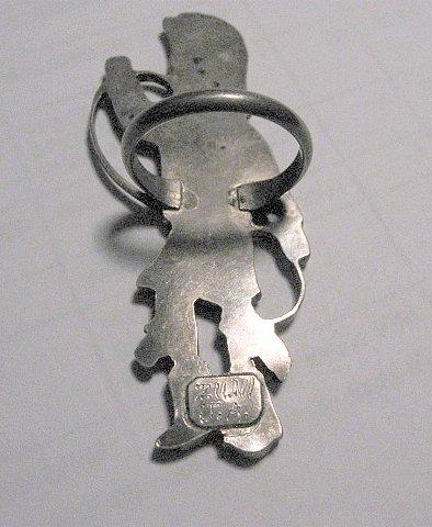 Image 3 of Vintage Zuni Dancer Inlay Silver Ring JA Calavaza sz7-1/2