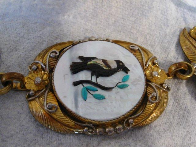Image 9 of Vintage Native American Inlay 10K Gold Sterling Silver Link Belt