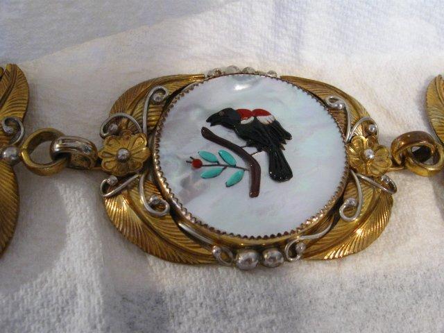 Image 10 of Vintage Native American Inlay 10K Gold Sterling Silver Link Belt