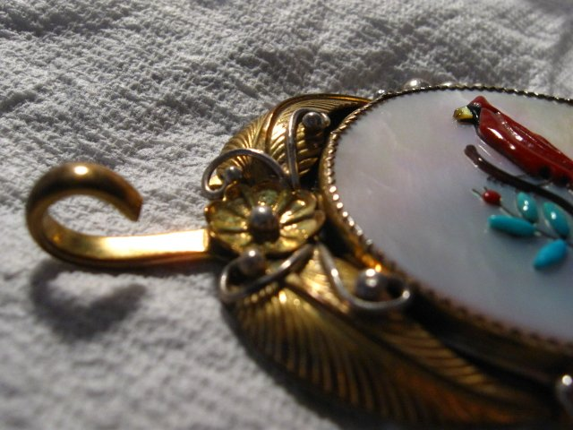 Image 12 of Vintage Native American Inlay 10K Gold Sterling Silver Link Belt