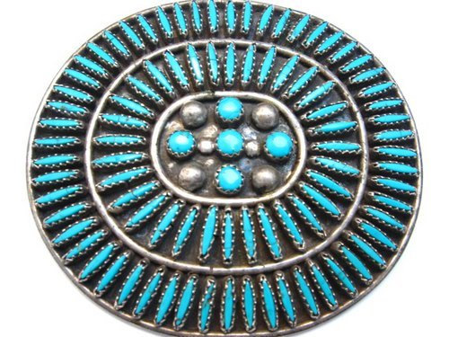 Image 0 of Big Vintage Zuni Needlepoint Turquoise Pin, JB Yazzie
