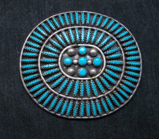 Image 4 of Big Vintage Zuni Needlepoint Turquoise Pin, JB Yazzie