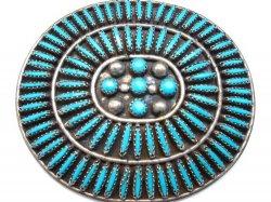 Big Vintage Zuni Needlepoint Turquoise Pin, JB Yazzie