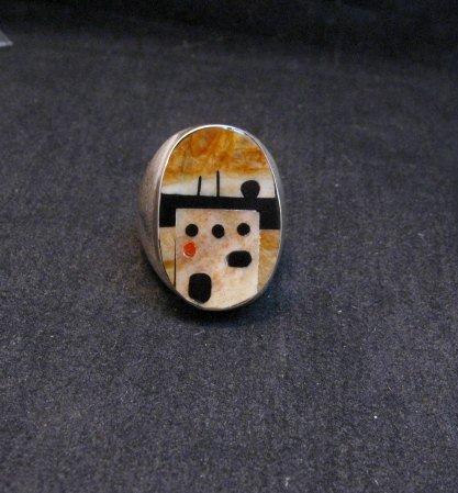 Image 0 of Zuni * Gilbert Calavaza * Pueblo Inlay Silver Ring, Sz10