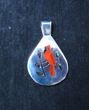 Image 1 of Zuni Inlaid Cardinal Bird Silver Pendant, Sanford Edaakie