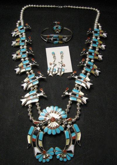 Image 0 of Zuni Inlaid Peyote Water Bird Squash Necklace Earrings Bracelet Ring Set