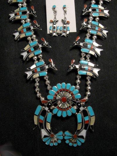 Image 1 of Zuni Inlaid Peyote Water Bird Squash Necklace Earrings Bracelet Ring Set