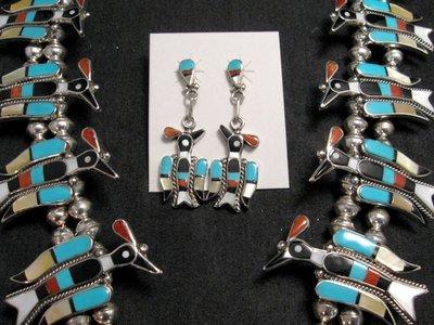 Image 3 of Zuni Inlaid Peyote Water Bird Squash Necklace Earrings Bracelet Ring Set