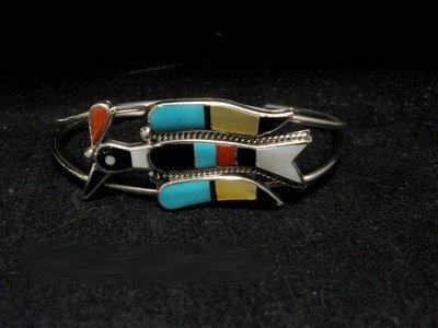Image 5 of Zuni Inlaid Peyote Water Bird Squash Necklace Earrings Bracelet Ring Set