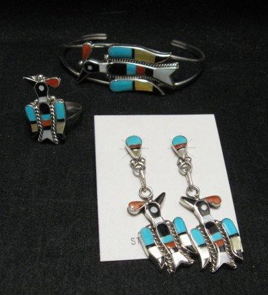 Image 4 of Zuni Inlaid Peyote Water Bird Squash Necklace Earrings Bracelet Ring Set