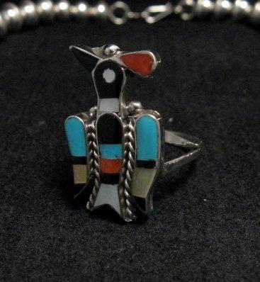 Image 6 of Zuni Inlaid Peyote Water Bird Squash Necklace Earrings Bracelet Ring Set