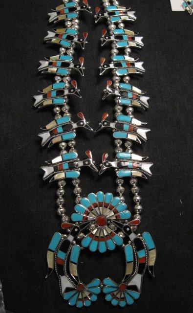 Image 7 of Zuni Inlaid Peyote Water Bird Squash Necklace Earrings Bracelet Ring Set