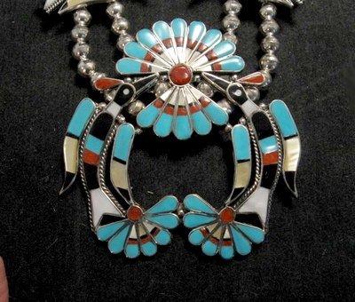 Image 2 of Zuni Inlaid Peyote Water Bird Squash Necklace Earrings Bracelet Ring Set