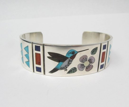Image 0 of Zuni Jewelry Inlay Hummingbird Silver Bracelet, Ruddell & Nancy Laconsello