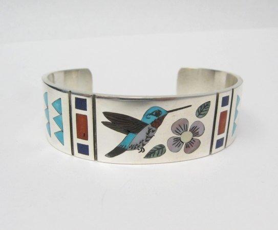 Image 0 of Zuni Jewelry Inlay Hummingbird Silver Bracelet, Ruddell & Nancy Laconsello