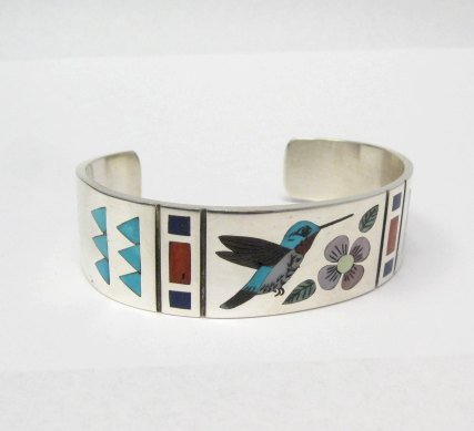 Image 1 of Zuni Jewelry Inlay Hummingbird Silver Bracelet, Ruddell & Nancy Laconsello