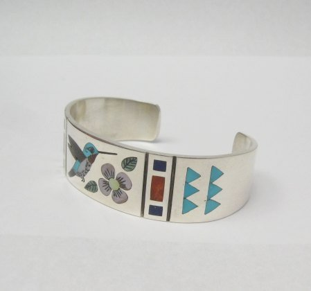 Image 2 of Zuni Jewelry Inlay Hummingbird Silver Bracelet, Ruddell & Nancy Laconsello