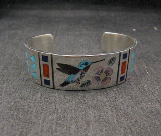 Image 3 of Zuni Jewelry Inlay Hummingbird Silver Bracelet, Ruddell & Nancy Laconsello