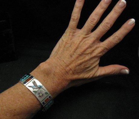 Image 5 of Zuni Jewelry Inlay Hummingbird Silver Bracelet, Ruddell & Nancy Laconsello