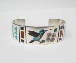 Zuni Jewelry Inlay Hummingbird Silver Bracelet, Ruddell & Nancy Laconsello