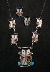 Zuni Multi Stone Inlay Owl Necklace & Earrings by Pitkin Natewa
