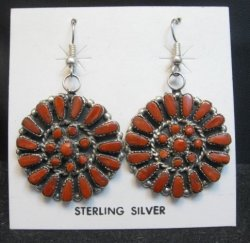 Zuni Coral Sterling Silver Cluster Dangle Earrings, Marcine Stead