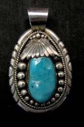 Large Robert & Bernice Leekya Zuni Sleeping Beauty Turquoise Pendant