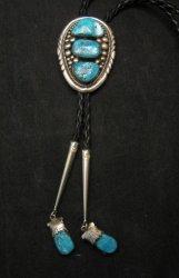 Robert & Bernice Leekya Zuni Sleeping Beauty Turquoise Silver Bolo