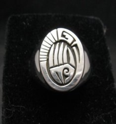 Calvin Peterson Sterling Silver Bear Paw Water Wave Navajo Ring sz11 or sz12