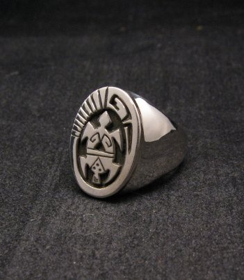 Image 2 of Navajo Calvin Peterson Sterling Silver Turtle Ring sz11