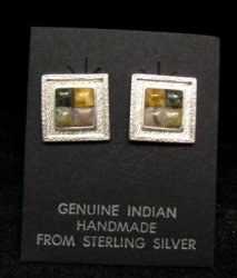 Hopi Multigem Inlay Earrings, Bennard & Frances Dallasvuyaoma