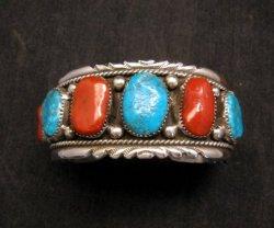 Zuni Indian Turquoise & Coral Sterling Silver Bracelet, Robert & Bernice Leekya
