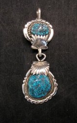 2-pc Robert & Bernice Leekya Zuni Sleeping Beauty Turquoise Pendant
