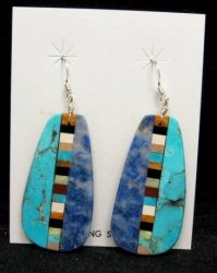 Big Kewa Turquoise Lapis Inlaid Earrings, Rudy & Mary Coriz, Santo Doming