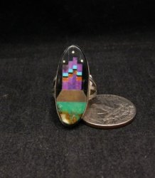 Native American Inlay Silver Ring, Navajo, Gilbert Smith, sz6