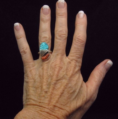 Image 1 of Zuni Native American Carved Turquoise Coral Silver Ring, Loyolita Othole,  sz7