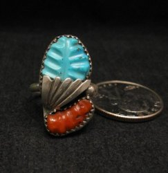 Zuni Native American Carved Turquoise Coral Silver Ring, Loyolita Othole,  sz7