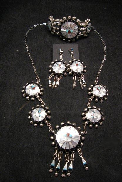 Image 6 of Zuni Abel Soseeah Sunface Necklace Earrings & Bracelet Set