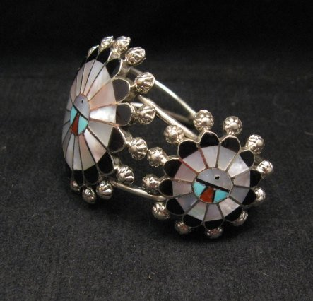 Image 4 of Zuni Abel Soseeah Sunface Necklace Earrings & Bracelet Set