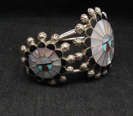 Image 5 of Zuni Abel Soseeah Sunface Necklace Earrings & Bracelet Set