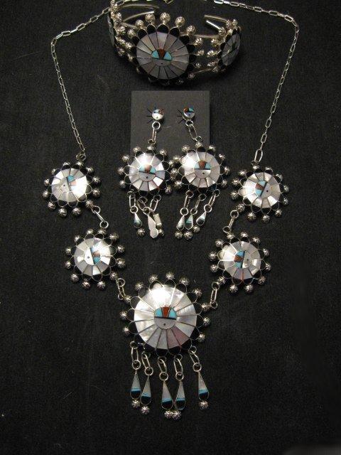 Image 0 of Zuni Abel Soseeah Sunface Necklace Earrings & Bracelet Set