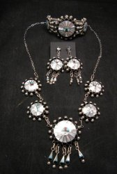 Zuni Abel Soseeah Sunface Necklace Earrings & Bracelet Set