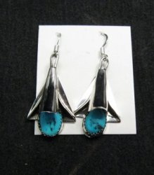 Navajo Turquoise Sterling Silver Squash Blossom Earrings, Louise Yazzie