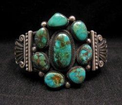A++ Leon Martinez ~ Navajo ~ Turquoise Cluster Silver Bracelet