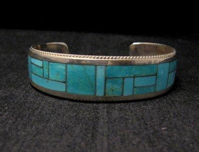 Image 6 of Rick & Glendora Booqua Zuni Turquoise Inlay Sterling Silver Bracelet