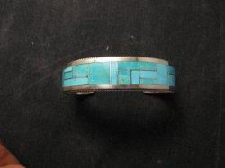 Rick & Glendora Booqua Zuni Turquoise Inlay Sterling Silver Bracelet