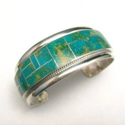 Rick Booqua Zuni Nevada Turquoise Inlay Sterling Silver Bracelet