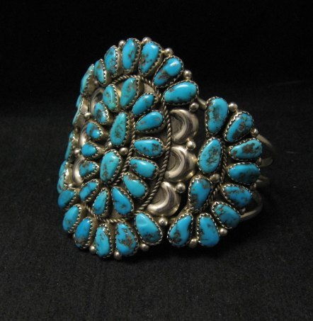Image 1 of Justin Wilson Navajo Silver & Turquoise Cluster Jewelry Bracelet
