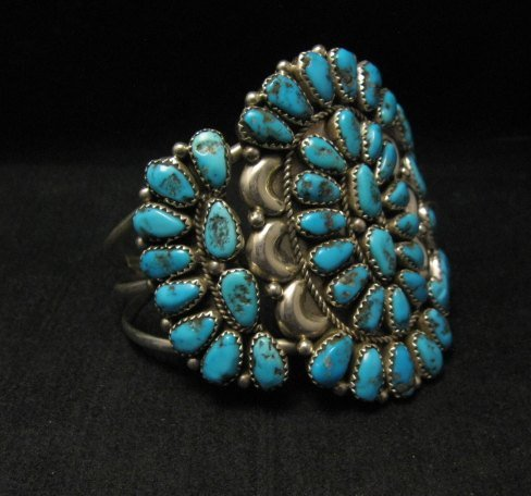 Image 2 of Justin Wilson Navajo Silver & Turquoise Cluster Jewelry Bracelet